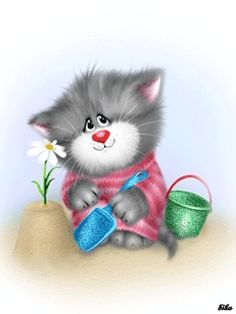 Good Morning have a nice day Kitten Cartoon, Cute Cartoon, Crazy Cat Lady, Crazy Cats, Hello Kitty Fotos, Kittens Cutest, Cats And Kittens, Gif Bonito, Cat Cupcakes