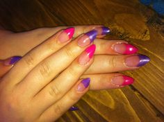 Purple and pink stiletto tip acrylic nails