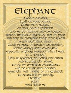Parchment Spirit of ELEPHANT PRAYER Animal Book of Shadows Page Wicca Witchcraft