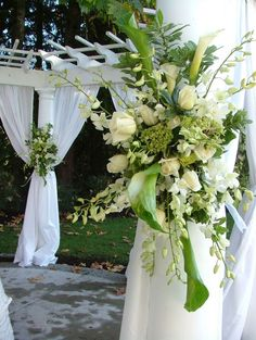 Colors: Brown and green...and? :  wedding brown color scheme colors green outdoor White And Green Floral Spray Wedding Decor