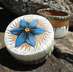 Porcupine quill basket by Priscilla Pegahmagabow - blue floral