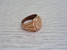 Vintage Brass Ring for Him, Solid Copper-zinc Ring, Mercedes Ornament Ring, Old Ring Gift Idea, Collectible Ring, Gift Idea for Him