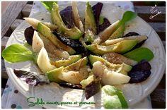 Salade avocats, poires et parmesan Plat Vegan, Flan, Parmesan, Fruit Salad, Potato Salad, Salad Recipes, Avocado, Easy Meals, Cooking