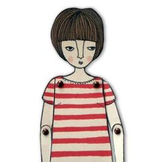 miniature moveable paper doll in red stripes by JordanGraceOwens, $8.00