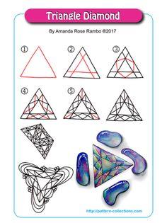 Triangle Diamond Tangle, Zentangle Pattern by Amanda Rose Rambo Tangle Doodle, Tangle Art, Zen Doodle, Doodle Art, Zentangle Drawings, Doodles Zentangles, Doodle Drawings, Doodle Designs, Doodle Patterns