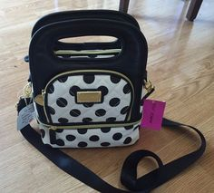 NWT $68 BETSEY JOHNSON INSULATED LUNCH TOTE BAG, POLKA DOT, BLACK/WHITE #BETSEYJOHNSON #Lunchtote
