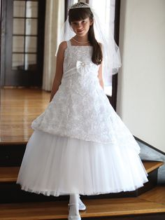 Stunning Floral Pattern Taffeta Communion Dress - LDS Baptism Gowns for Girls
