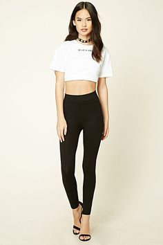 Forever 21 Contemporary - A pair of knit leggings featuring contrast stripe panels and an elasticized waist.
