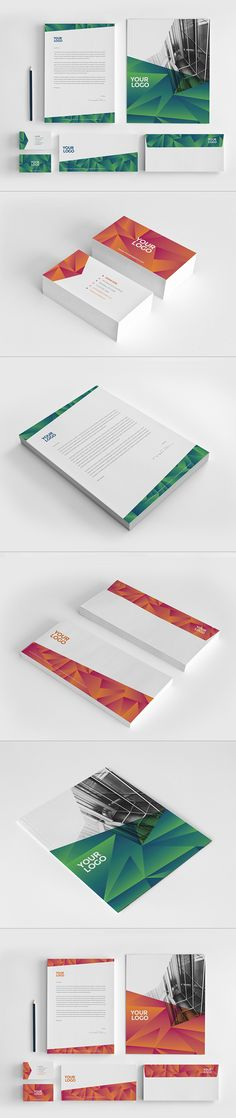 Modern Green Orange Stationery on Behance