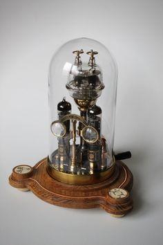 Steampunk Desk, Industrial Desk, Brass Wood, Assemblage Art, Desk Lamp, Dieselpunk, Lamp Design, Snow Globes, Cool Things To Buy