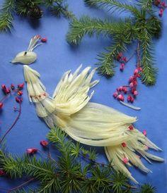 луковые фантазии Food Art, Bird, Painting, Garden, Garten, Painting Art, Lawn And Garden, Birds, Paintings