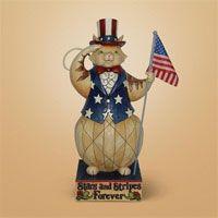 Patriotic Cat - Garden Statue by Jim Shore