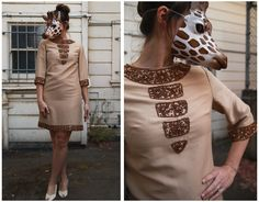 Gorgeous Vintage 60s Brown Copper Beaded Mini Mod Shift Dress Tunic | Small by AnimalHeadVintage on Etsy