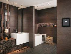 dark brown chocolate brown mosaic effect modern bathroom tiles ideas