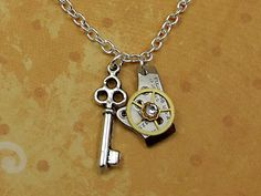 Key Watch Part Necklace Gear Stainless Steel by CrofootDesigns