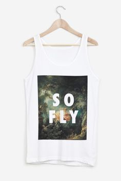 White, unisex tank 50/50 in soft poly-cotton and super comfortable that gives you the impression of having always worn it.   So Fly by Fly Art for Rad.