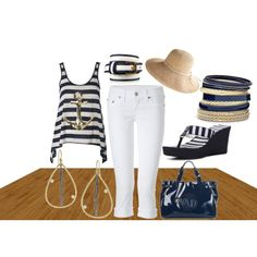 I loved the navy shirt could have done without the anchor but made it work by creating cruise wear.  Dressed it up with some accessories and added the casual hat for day.