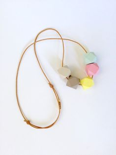 Mod hand painted wooden hexagon necklace by MODFRESH. www.modfreshstyle.com