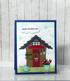Shed Images, Cloud Stencil, Deeper Shade Of Blue, Die Cut Cards, Paper Pumpkin, Distress Ink, Masculine Cards, Petunias, Happy Fathers Day