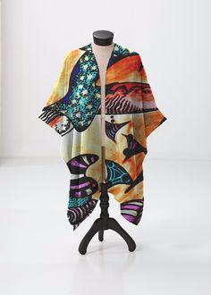 This sheer kimono-style wrap comes to the knee and drapes beautifully over a swimsuit or summer dress. Perfect for festivals or the beach. Kimono Top, Kimono Style, Kimono Fashion, Print Patterns, Swimsuits, Summer Dresses, The Originals, Beach Artwork, Unique