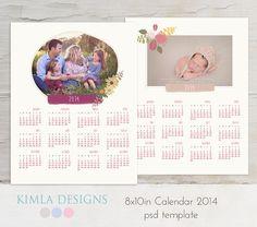 8x10in 2014 Calendar PSD Template vol23 by KimlaDesigns on Etsy, #photography #photoshop #template #2014calendar