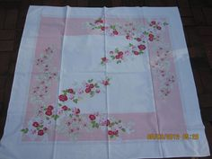 Vintage 1950s Pink red roses   Floral Tablecloth by peddlersfinds, $19.99