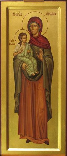 St Elizabeth the Righteous with St John the Baptist / Byzantine Icons, Byzantine Art, Bible Pictures, Pictures To Draw, Religious Icons, Religious Art, Roman Church, Russian Icons, Orthodox Christianity