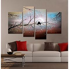 Love on the Branch 4piece Handpainted Gallerywrapped Canvas Art Set Infuse a Little Romance Into Your Decor