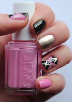 Black and Pink Argyle Nail Art