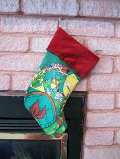 TMNT Ninja Turtles Christmas Stocking DIY Upcycled Shirt Handmade OOAK