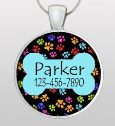 Dog ID Tag - Pet ID Tag - Whimsical Paws with Blue Bone - Dog Tag for Dogs - Pet ID - Pet Name & Your Phone Number - Design No. 203
