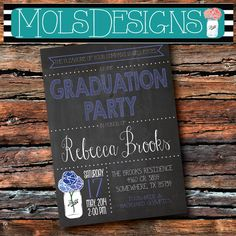 Any Color CHALKBOARD GRADUATION PARTY Blue Mason Jar Couple Barbeque Cookout Honey Do Shower Bridal Baby Birthday Family Reunion Invitation on Etsy, $15.00