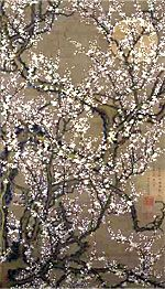 White Plum Blossoms in Moonlight (月下白梅) by Jakuchu Ito