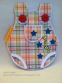adorable handmade Baby Boy Card ... plaid summer coverall ... very cute ... luv the details ...