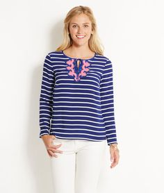 Vineyard Vines Border Stripe Top - nautical stripes with a pink accent? Oh yes!