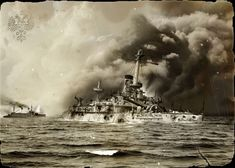 Russian warship sustains heavy damage during the battle of Tsushima May 27–28, 1905, Russo-Japanese War (日露戦争), 1904-1905.