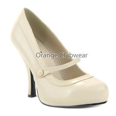 Pinup Sexy Mary Janes High Heels Light Tan Cream Nude Rockabilly Pumps Hot Shoes | eBay
