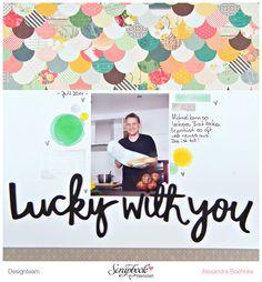 Layout Lucky with you - Scrapbook Werkstatt März Kit 2014 - designed by Alexandra Boehnke (Tandi-Works) #layout #scrapbooking #stitches # amytan #cratepaper #maggieholmes