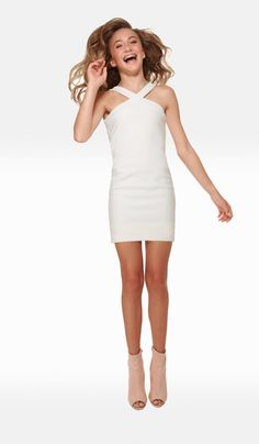 f2ed34d7e39 The Sally Miller Sierra Dress Juniors - Ivory textured knit bodycon v-neck fully  lined dress with thick straps