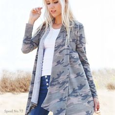 Love this French terry camo cardigan! Perfect for fall weather! www.spool72.com