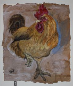 "Maggie Wheelock, Bird rooster painting. Buff Orpington Rooster, 2011. 72"" x 65""  Ink, Charcoal and acrylic on brown craft paper.  Sold, now running the roost in Soulard, Mo."