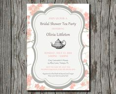 Bridal Shower High Tea Invitation Printable by pegsprints on Etsy, $15.00