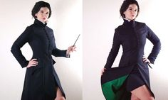 Sexy Severus Snape coat suggested by Obliviate Evening Arwen makes custom-made jackets à la Severus Snape, specifically for ladies. Each one is made to order using medium weight wool and green cotton or silk lining. The buttons are even hand-co…