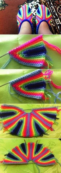 This Pin was discovered by Мар Crochet Slipper Pattern, Crochet Socks, Love Crochet, Crochet Clothes, Crochet Baby, Knit Crochet, Knitting Short Rows, Knitting Stitches, Knitting Socks