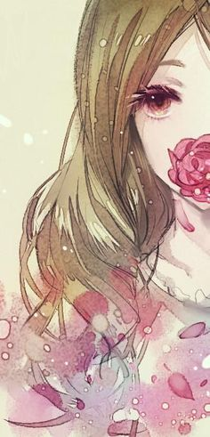 I've seen this flower-on-face motiff a lot more recently! .#anime (Cool Art Girl)