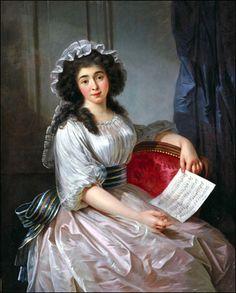 Portrait de Mademoiselle Lescaut, avec une partition de musique, par Guillaume Joseph Roques