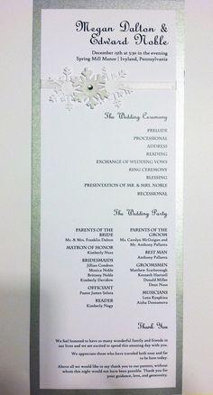 Snowflake Wedding Program Card. 1.75, via Etsy.