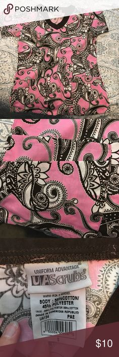 NWOT Scrub top Cute design! PInk/brown/white scrub top. NWOT. I thought the design was black when I ordered it. Uniform Advantage Tops