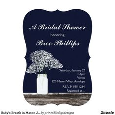 Baby's Breath in Mason Jar Rustic Blue Invitations