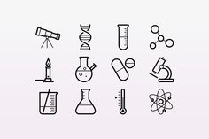 Here is a collection of 15 outlined stroke icons for physics, chemistry and astronomy. These scalable vectors include scientific icons such as flasks, telescope, microscope, dna, pills, thermometer and other lab equipment.
